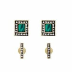 Chloe + Isabel Malachite & Pave Stud Duo, Set of 2